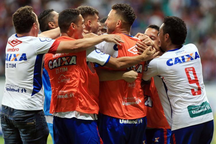 Bahia venceu no finzinho e ficou perto da Série A - Foto: Felipe Oliveira | EC Bahia