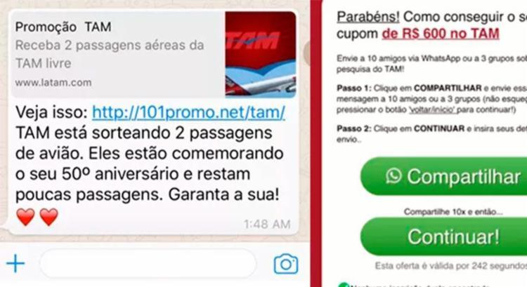 Promoção de passagem aérea é falsa e não deve ser compartilhada - Foto: Reprodução