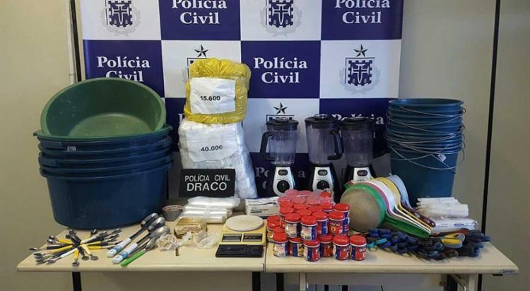 15 pessoas trabalhavam no refinamento da droga - Foto: Ascom | Polícia Civil