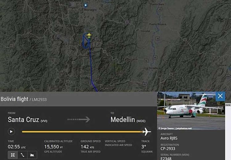 Piloto do avião do Chapecoense pediu para pousar em Rionegro durante o trajeto - Foto: Reprodução