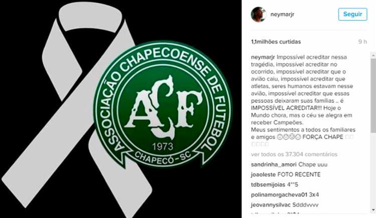 Neymar foi um dos jogadores que homenagearam a Chape - Foto: Reprodução   Instagram