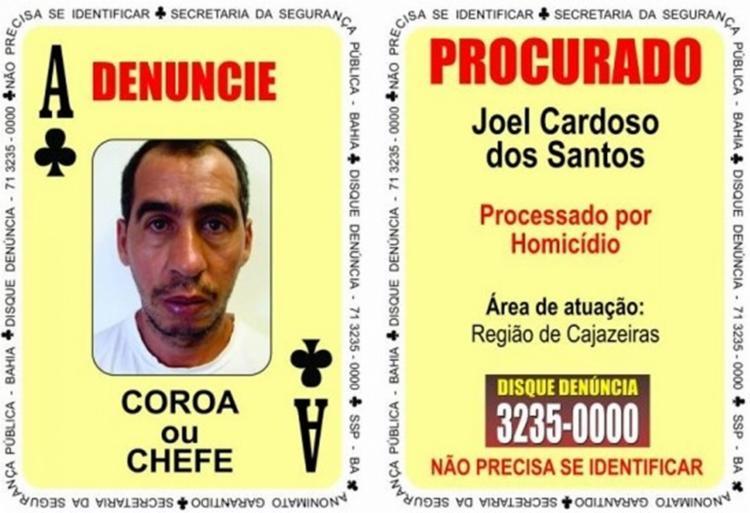 Joel Cardoso dos Santos, o 'Coroa' ou 'Chefe' atua no bairro de Cajazeiras - Foto: Divulgação l SSP