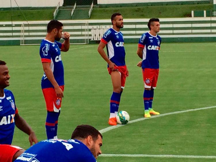 Os atletas do Bahia durante o treino em Goiânia - Foto: Reprodução | Twitter | EC Bahia