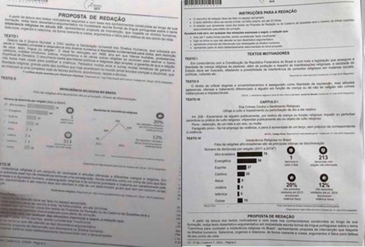 À esquerda, foto da prova falsa de 2015. À direita, página com tema da redação deste ano - Foto: Fotos: Reprodução