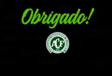 """Chapecoense usa redes sociais para dizer """"obrigado"""" pelo carinho"""
