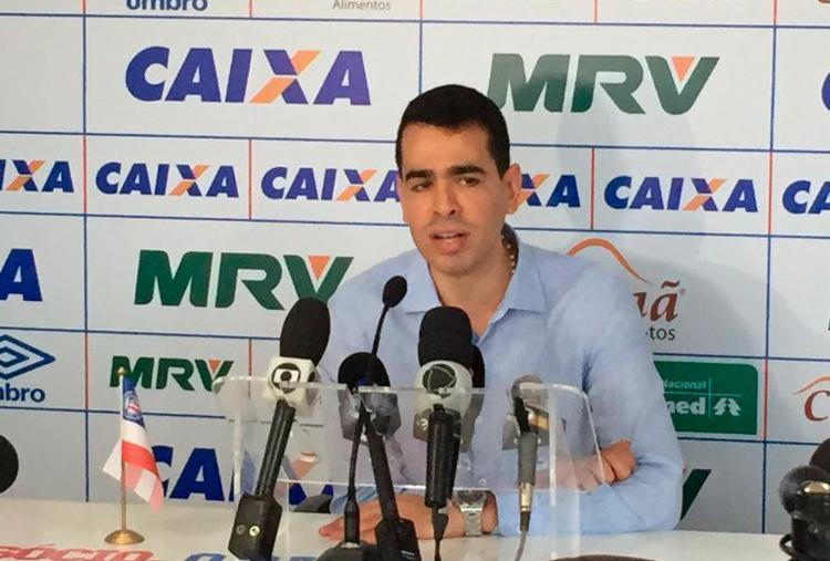 Presidente do Bahia concedeu primeira entrevista após o retorno do Esquadrão à Série A - Foto: Reprodução | Twitter | EC Bahia
