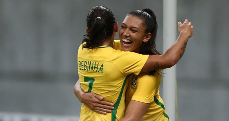 Jogadoras comemoram um dos gols da partida - Foto: CBF | Facebook | Divulgação