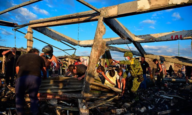 Explosão ocorreu no mercado de San Pablito, em Tultepec - Foto: Ronaldo Schemidt   AFP