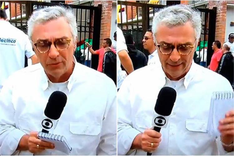 O repórter se emocionou ao falar do acidente aéreo da Chapecoense - Foto: Reprodução | TV Globo