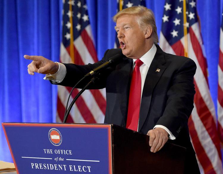 Trump concedeu a primeira entrevista coletiva desde que ganhou as eleições - Foto: Timothy A. Clary l AFP