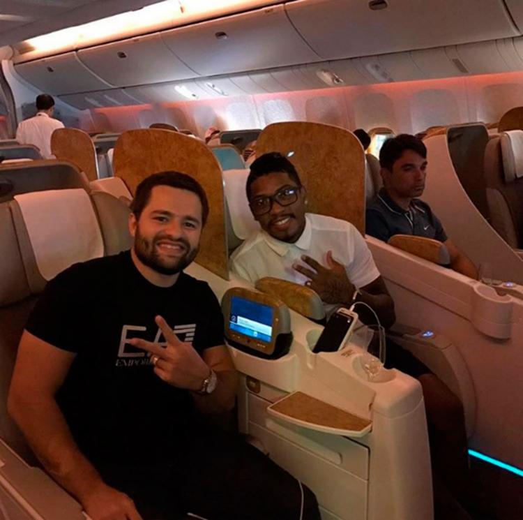 Kaue Machado (E) e Marinho foram viajaram para Dubai nesta segunda-feira, 16 - Foto: Reprodução | Instagram