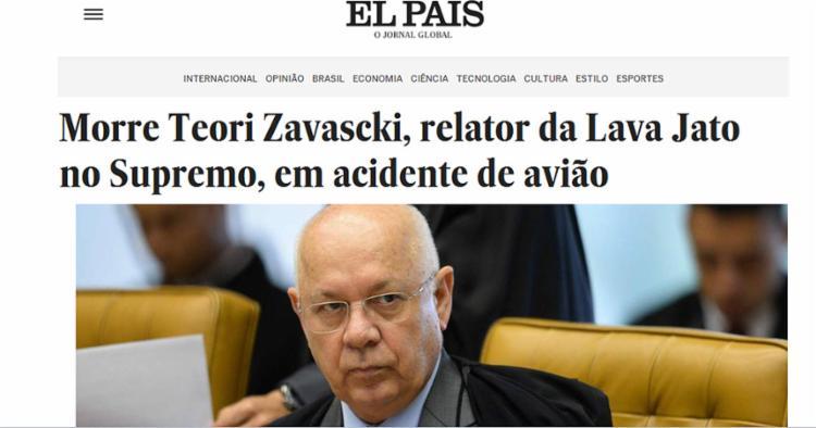 O El Pais destacou a morte do juíz - Foto: Reprodução l El Pais