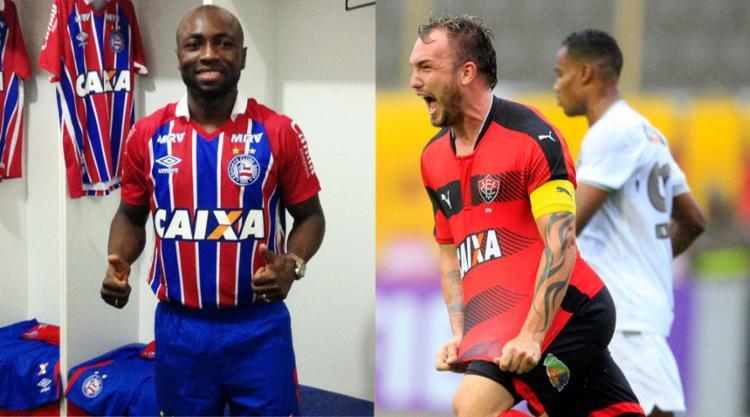 Pablo Armero é a principal novidade tricolor para 2017; já o Leão conseguiu renovar com Willian Farias, capitão do time - Foto: EC Bahia   Divulgação e Lúcio Távora   Ag. A TARDE