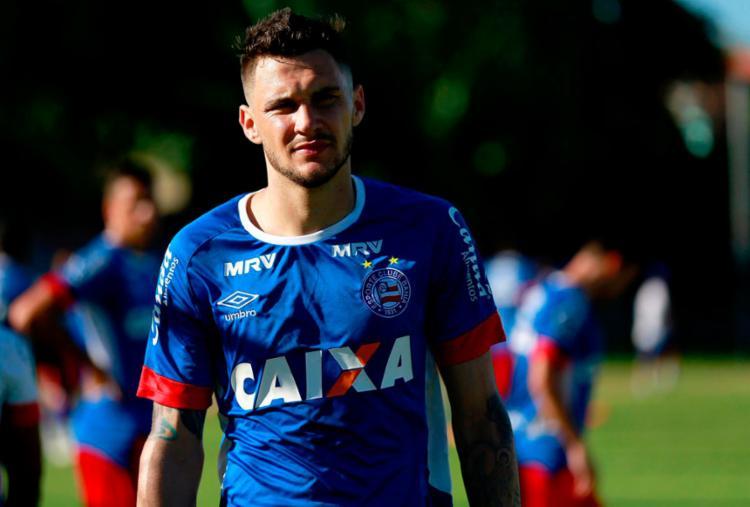 Tiago foi capitão do Bahia na partida contra o Fortaleza - Foto: Felipe Oliveira | EC Bahia