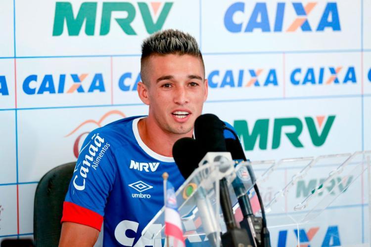 O jogador foi o entrevistado do dia no Fazendão - Foto: Felipe Oliveira   EC Bahia