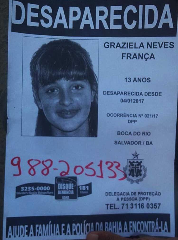 Menina está desaparecida desde a quarta-feira, 4 - Foto: Divulgação