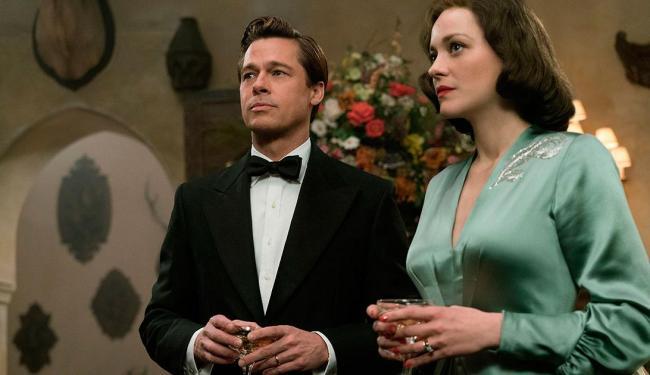 Brad Pitt no papel de Max e sua esposa Marianne, interpretada por Marion Cotillard - Foto: Divulgação