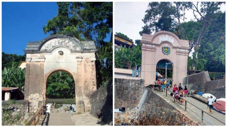 Antes e depois do portal de Morro de São Paulo - Foto: Reprodução