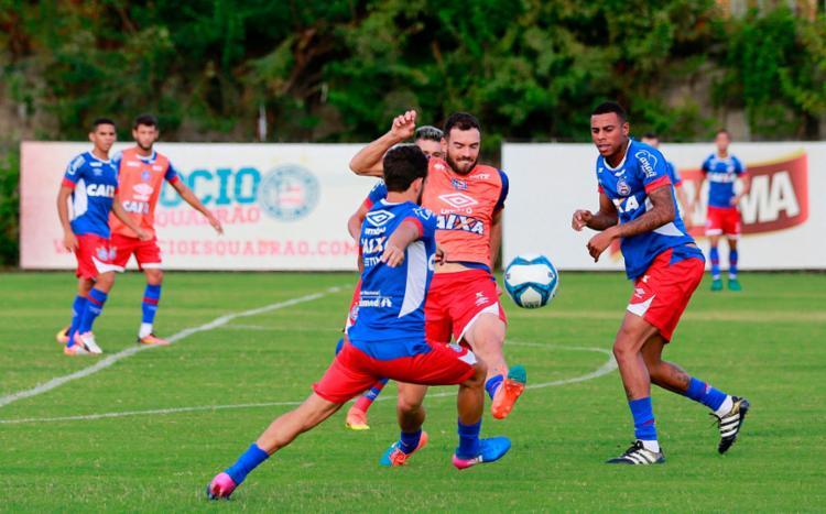O elenco realizou treinamento com bola no Fazendão - Foto: Felipe Oliveira | EC Bahia