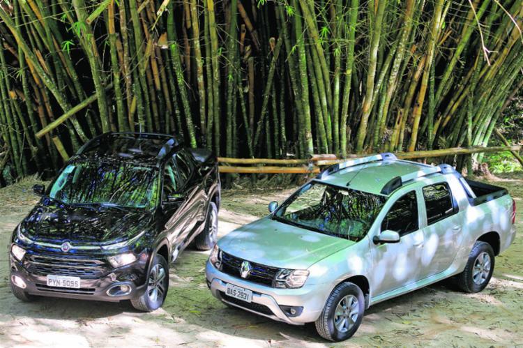 A picape da Renault foi pioneira no segmento; já a Fiat inclui perfil de crossover no utilitário - Foto: Joá Souza | Ag. A Tarde
