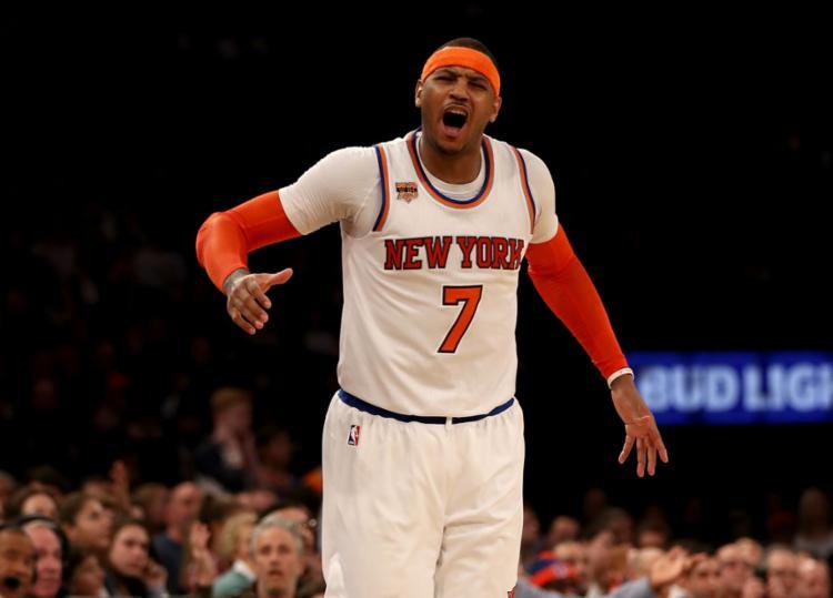 Carmelo comandou a vitória do Knicks sobre o Spurs - Foto: Elsa | Getty Images North America | AFP