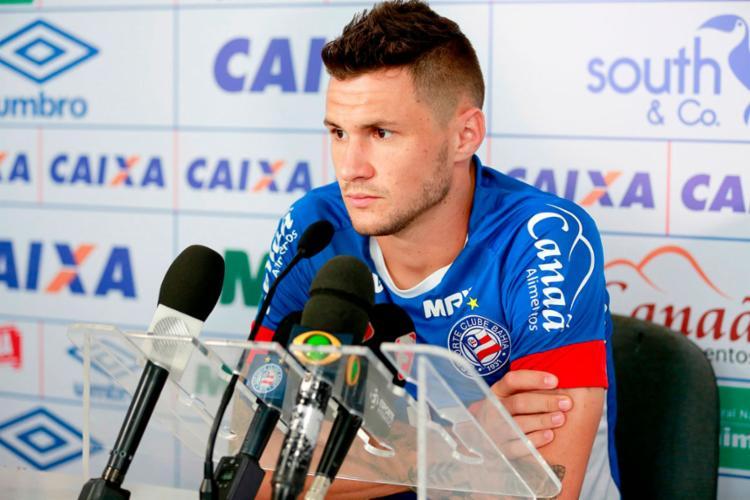 Tiago revelou ansiedade para resolver sua situação contratual - Foto: Felipe Oliveira   EC Bahia