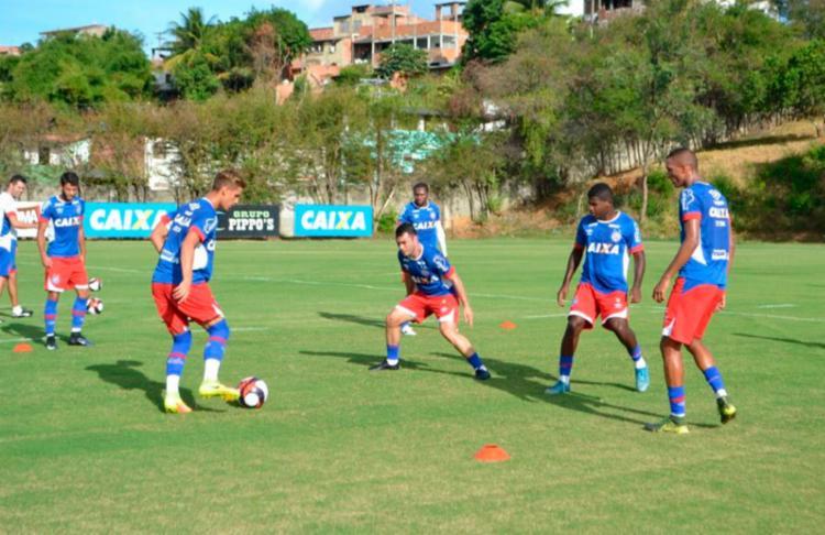 Cajá treinou normalmente com o restante do elenco - Foto: Felipe Oliveira | EC Bahia