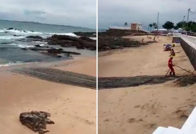 Material retirado de canal é despejado em praia na Barra - Foto: Reprodução