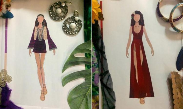 Croqui de dois figurinos que Ju Moraes vai usar na folia - Foto: Divulgação
