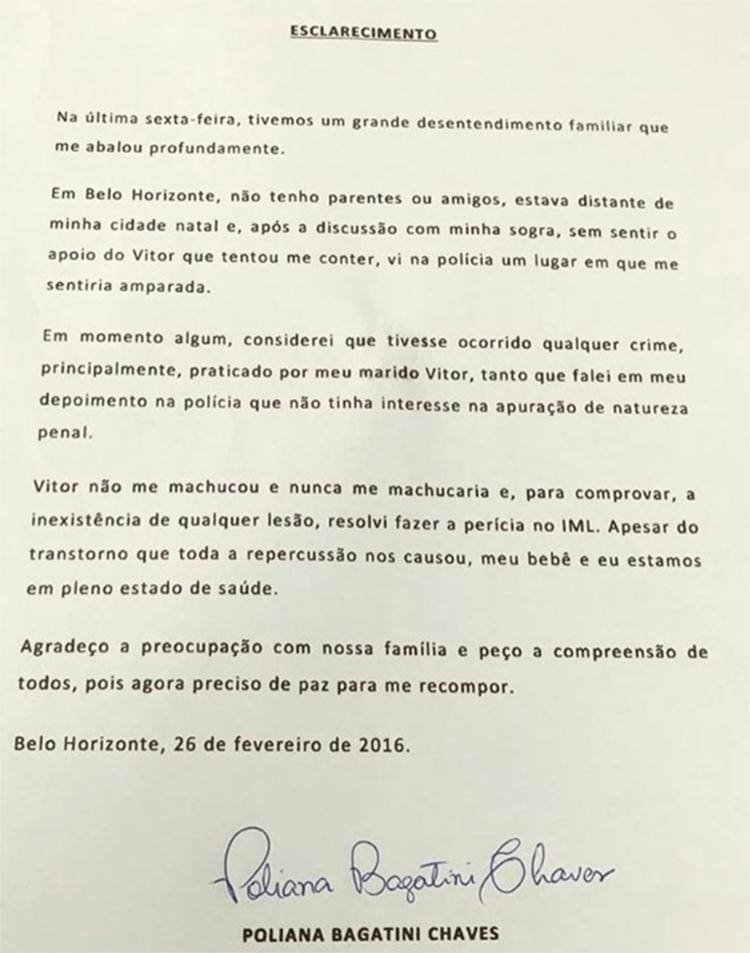A carta foi publicada no Instagram de Poliana Bagatini Chaves, esposa do cantor - Foto: Reprodução | Instagram