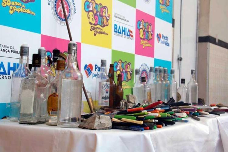 Materiais apreendidos pela polícia durante o carnaval de Salvador - Foto: Divulgação | SSP