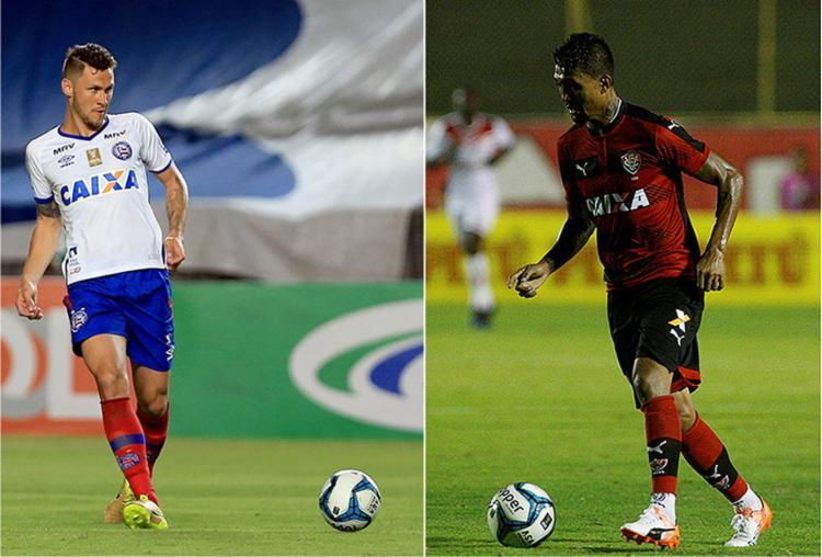 Zagueiro Tiago é o grande destaque do Bahia em 2017; atacante Kieza é o artilheiro do Vitória no ano, com quatro gol - Foto: Felipe Oliveira l EC Bahia e Adilton Venegeroles l Ag. A TARDE
