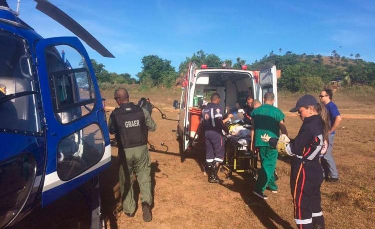 Menino foi resgatado por helicóptero do Graer - Foto: Divulgação | Graer