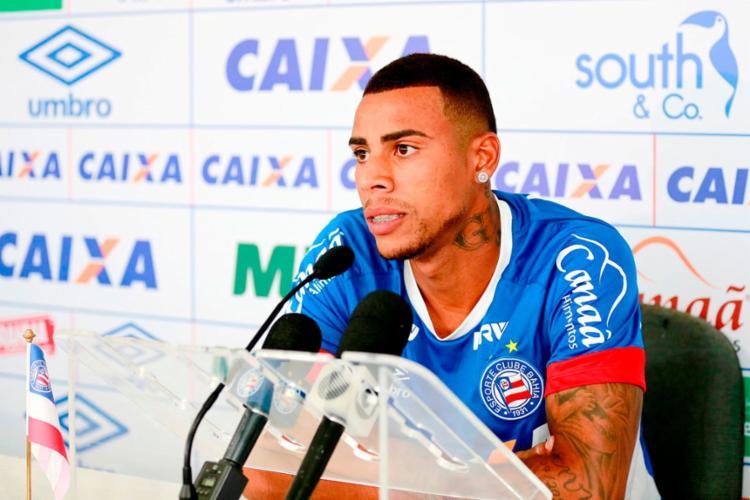 O atacante marcou dois gols de uma só vez pelo Tricolor - Foto: Felipe Oliveira | EC Bahia
