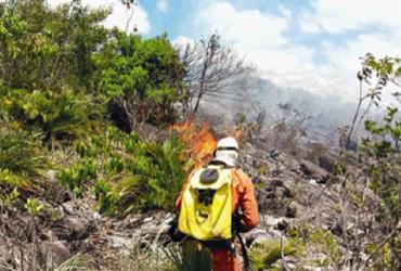 Bombeiros e voluntários combatem fogo na região da Chapada e Piemonte