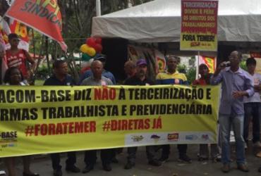 Lideranças sindicais protestam contra reformas e terceirização