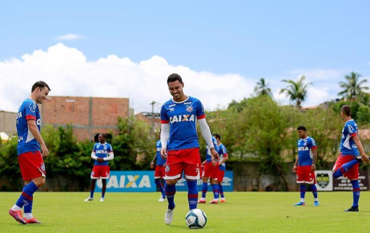 Edigar Junio vem treinando com bola há uma semana - Foto: Felipe Oliveira l EC Bahia