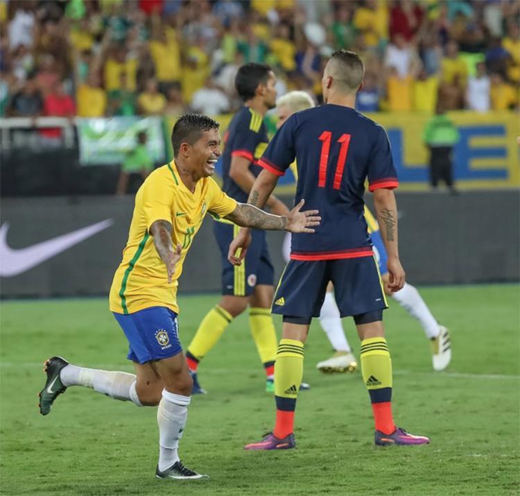 Dudu marcou o único gol da vitória do Brasil sobre a Colômbia em amistoso - Foto: Ricardo Stuckert l CBF