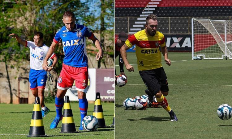 Tricolor trabalhou forte no Fazendão; Rubro-Negro treinou antes de ir de ônibus para Aracaju - Foto: Felipe Oliveira l EC Bahia e Maurícia da Matta l EC Vitória
