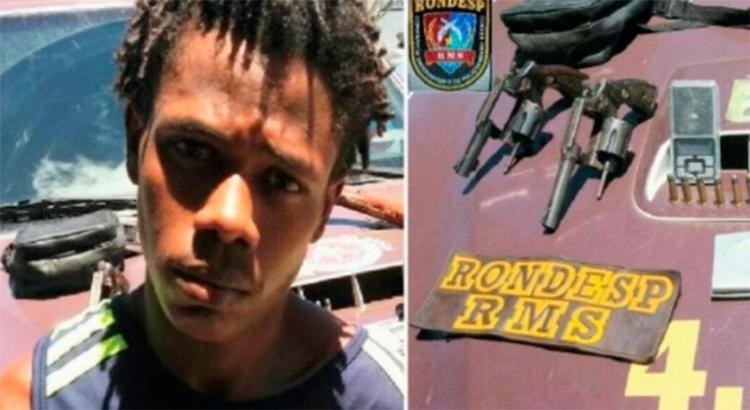 Homem foi preso com armas durante operação - Foto: Reprodução   Camaçari em Foco