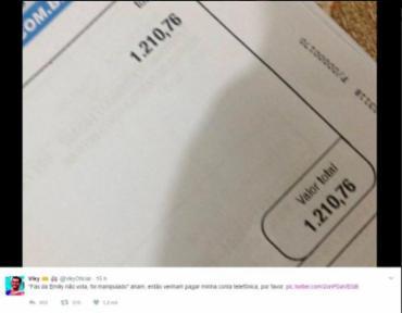 O fã postou uma imagem com o valor da conta em seu perfil - Foto: Reprodução | Twitter