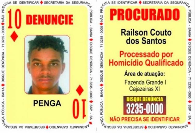 Penga fazia parte do Baralho do Crime do Secretaria de Segurança Pública - Foto: Divulgação   SSP