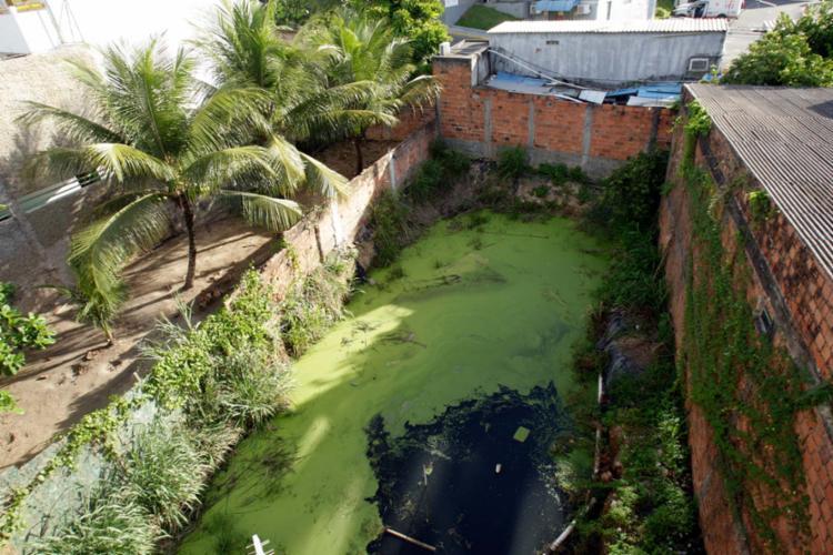 Terreno que fica localizado na rua Procurador Nelson Castro, no bairro do Trobogy, tem poluição e água parada - Foto: Margarida Neide | Ag. A TARDE