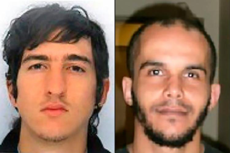 Clement Baur (esq.) e Mahiedine Merabet (dir.) foram presos em Marselha - Foto: Reprodução da Polícia Francesa | AFP