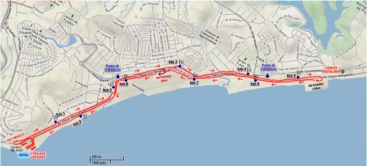 Mapa do trajeto da corrida - Foto: Divulgação