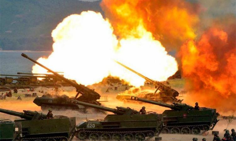Imagem do exercício militar divulgada pela Coreia do Norte - Foto: AFP
