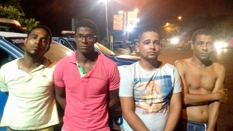 Lucas Santos, Fábio Purgas, Rafael Silva e Juarez foram presos neste domingo - Foto: Divulgação | SSP