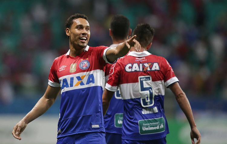 Edigar festeja gol contra o Sergipe, seu segundo no ano - Foto: Adilton Venegeroles l Ag. A TARDE