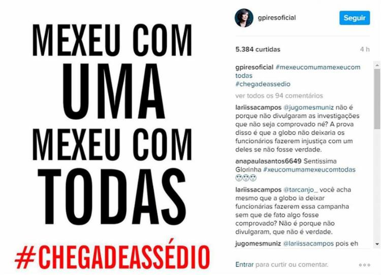 Perfil da atriz Glória Pires se posicionando contra o colega - Foto: Reprodução | Instagram