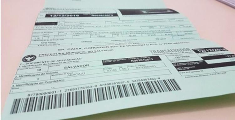 Os juros só serão cobrados após o atraso no pagamento da notificação de infração - Foto: Divulgação | Transalvador